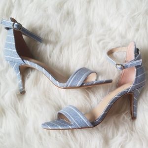 Chambray striped strappy heels